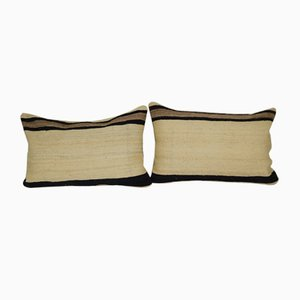 Organic Turkish Hemp Kilim Cushion Covers, Set of 2