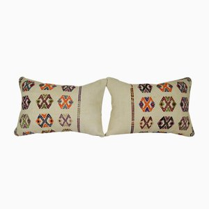 Turkish Embroidered Kilim Cushion Covers, Set of 2