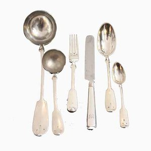 Antique Silver Cutlery Set for 12 People, Set of 50