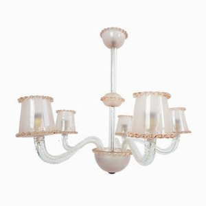 Rose 5-Arm Murano Chandelier by Ercole Barovier, 1940s