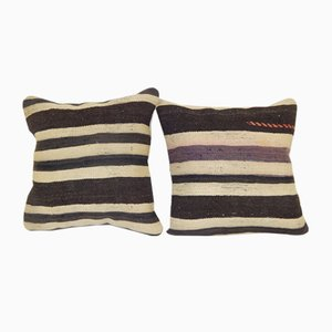Striped Organic Turkish Cushion Covers, Set of 2
