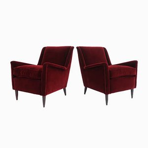 Italian Red Velvet Armchairs in the Style of Ico Parisi, 1950s, Set of 2
