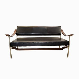 Italian Steel, Curved Plywood & Rosewood Sofa, 1960s
