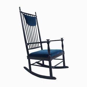 Rocking Chair en Velours Blu Laguna par Hans J. Wegner, Danemark, 1950s