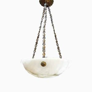 Alabaster Ceiling Lamp, France, 1920s