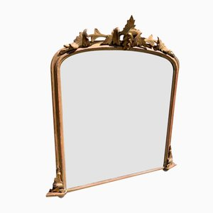 Antique English Carved Wood and Gesso Gilt Arched Top Overmantle Mirror
