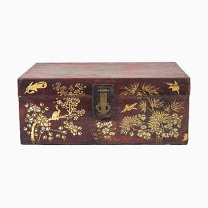 19th Century Chinese Coffer in Red and Gilt Lacquered Wood