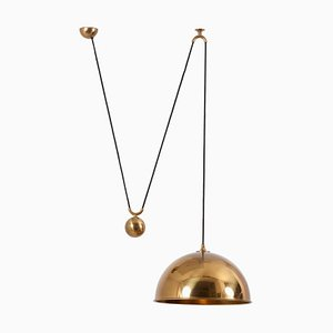 Pendant Lamp Posa with Side Pull in Brass by Florian Schulz, Germany, 1970s