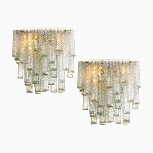 Hand-Blown Square Flush Mount Chandeliers from Doria, 1969, Set of 2