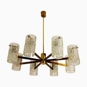 Mid-Century Brass and Blown Glass Chandelier by Hillebrand, 1960s