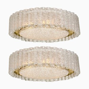 Large Organic Flush Mount Chandeliers by Doria Leuchten Germany, 1960s, Set of 2