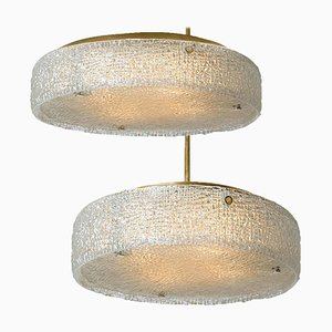 Thick Textured Glass Flush Mount Ceiling Lamps by Doria Leuchten Germany, 1960s, Set of 2