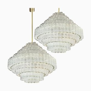 Large 9-Tier Doria Ballroom Light Sculptures by Doria Leuchten Germany, 1960s, Set of 2