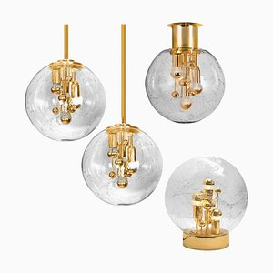 Space Age Brass and Blown Light Fixtures by Doria Leuchten Germany, 1970s, Set of 4