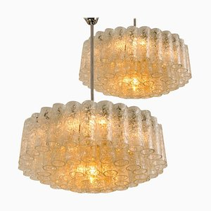 60-Glass Tube Chandeliers by Doria Leuchten Germany, 1960s, Set of 2
