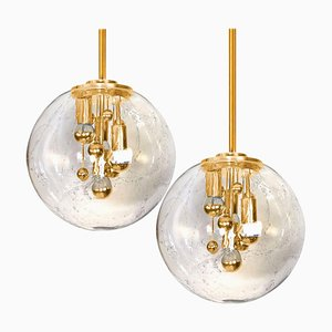 Space Age Brass and Blown Glass Lights by Doria Leuchten Germany, Set of 2