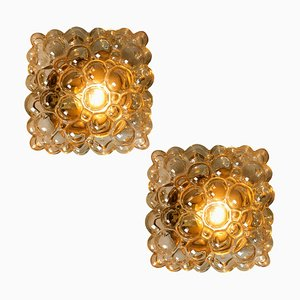 Amber Bubble Flush Mounts or Wall Sconces by Helena Tynell for Limburg, 1960s, Set of 2