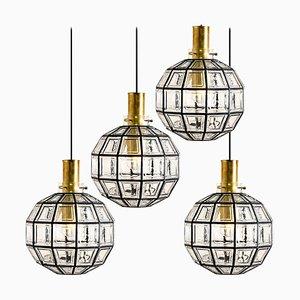 Große Leuchte aus Eisen & Klarglas von Glashütte Limburg, 1960er