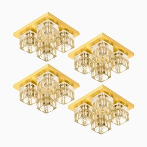 Brass and Glass Wall or Ceiling Light by Peill & Putzler, Germany, 1960s