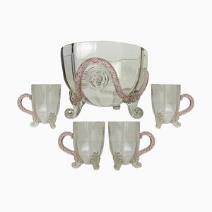 Venetian Murano Glass Set with Lion Mask Attributed to Salviati, 1890s, Set of 5