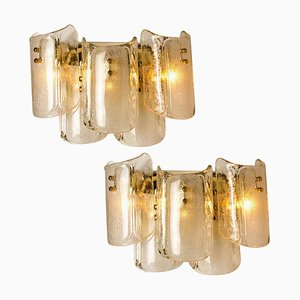 Large Massive Glass Wall Lamps or Sconces in the Style of Kalmar, 1969, Set of 2