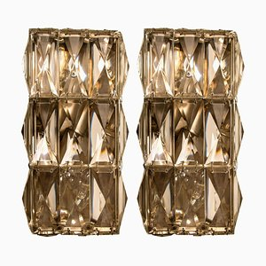 Chrome-Plated Crystal Glass Wall Light Fixtures by Palwa, 1970s, Set of 2