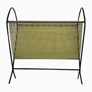 Vintage Magazine Rack in Perforated Metal, 1950s