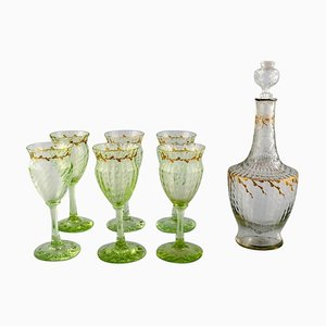 Wine Glasses and Carafe in Art Glass by Emile Gallé, Set of 7