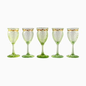 Wine Glasses in Light Green Art Glass by Emile Gallé, 1980s, Set of 5
