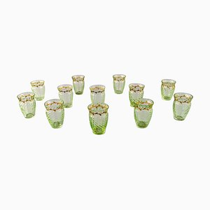 Glasses in Mouth-Blown Green Art Glass by Emile Gallé, Set of 12
