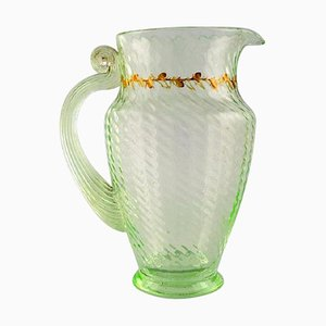 Jug in Mouth-Blown Light Green Art Glass by Emile Gallé