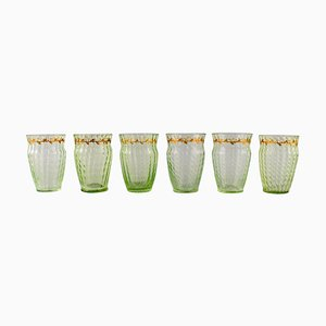 Glasses in Mouth-Blown Green Art Glass by Emile Gallé, Set of 6