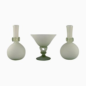 Vases and Compote in Frosted Glass by Isfahan Glass, Set of 3