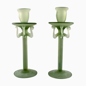 Candleholders in Green Frosted Art Glass by Isfahan Glass, Set of 2