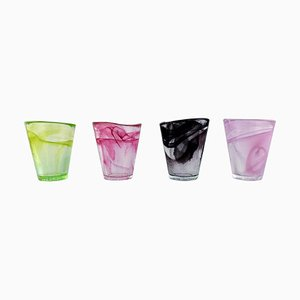 Glasses in Colored Art Glass by Ulrica Hydman Vallien for Kosta Boda, Sweden, 1980s, Set of 4