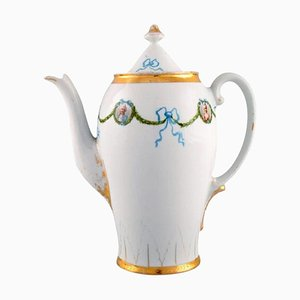 Coffee Pot in Hand-Painted Porcelain with Blue Ribbons from KPM, Berlin