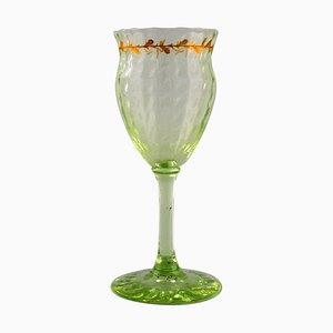 Wine Glass in Mouth-Blown Light Green Glass by Emile Gallé