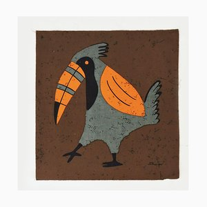 Vintage Tropical Toucan Fabric Wall Hanging by Traude Sänger for Sangerform, Germany, 1960s