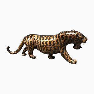Large Vintage Wooden Tiger