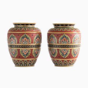 Antique Mettlach Stoneware Relief Decorated Vases from Villeroy & Boch, 1916, Set of 2