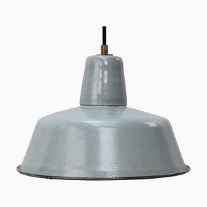 Vintage Industrial Grey Enamel Pendant Lamp
