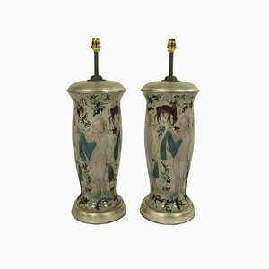 Vintage Hand-Painted Table Lamps in the Style of Cranach, Set of 2