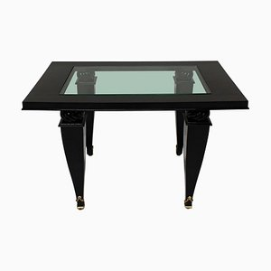 French Black Lacquer, Glass & Gilt Bronze Coffee Table, 1940s