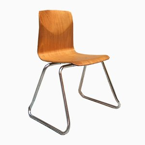 Vintage German Light Wood & Chromed Steel Chair from Pagholz Flötotto, 1960s