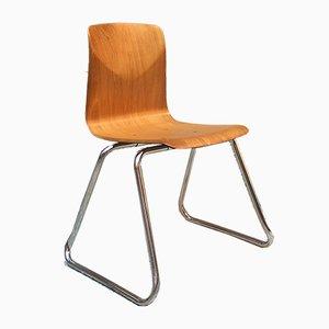 Deutsche Vintage Esszimmerstühle aus hellem Holz & verchromtem Stahl von Pagholz Flötotto, 1960er, 12er Set