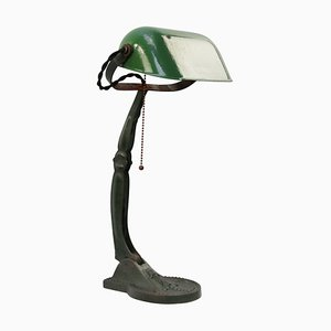 Vintage Hungarian Industrial Green Enamel Work Desk Lamp