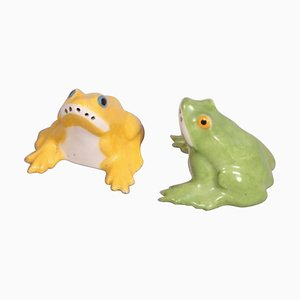 Antique Frog Saltshakers by Sandoz Sculptor for Haviland, Set of 2