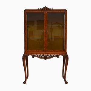 Burr Walnut Display Cabinet, 1920s