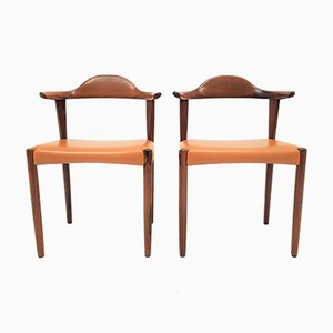 Rosewood Model 69 Bull Horn Chairs by Harry Østergaard for Randers Møbelfabrik, 1960s, Set of 2
