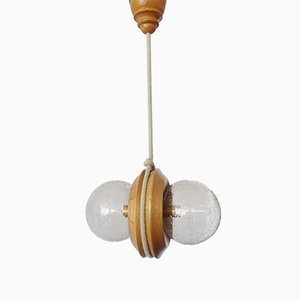 Wood and Glass Beads Model 718 Ceiling Lamp from Temde, 1970s